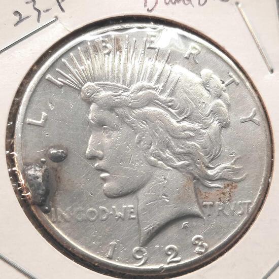 1923-S Silver Peace Dollar Damaged 90% Silver