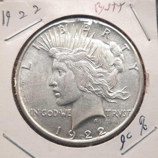 1922 Silver Peace Dollar 90% Silver Nice Coin Bu++