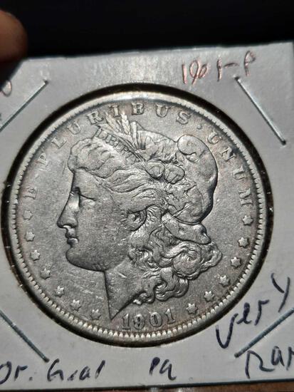 1901-P Morgan Silver Dollar au ultra rare date original beauty very scarce date