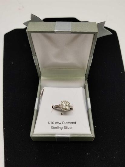 1/10 Carot Diamond Ring Sterling Silver Size 7