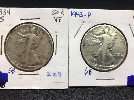 1934-S, 1943-P Standing Liberty Half Dollars, 2 Units