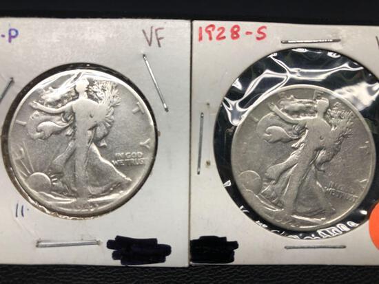 1928-S, 1943-P Standing Liberty Half Dollars, 2 Units