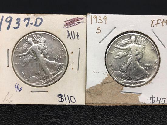 1937-D, 1939-S Liberty Standing Half Dollars 2 Units