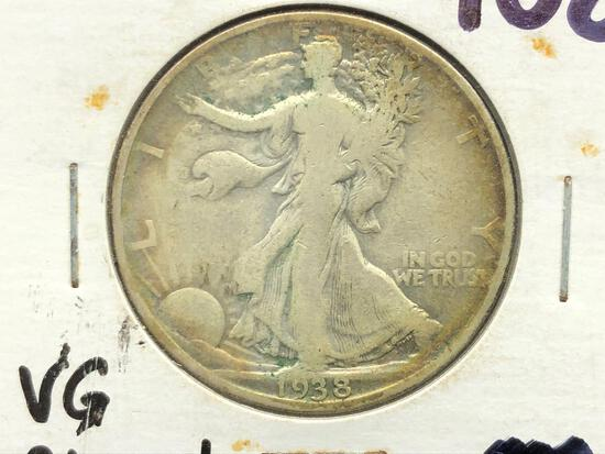 1938-D Standing Liberty Half Dollar Rim Toning