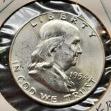 1954 Franklin Half Dollar d/d ddr gem bu fbl blazing beauty frm original roll 90% silver