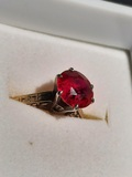 Antique Yellow Gold 14kt Ladies Ring Large 2+ct Natural Glowing Red AAA Top Ruby