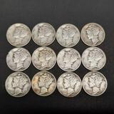 12 Mercury Silver Dimes nice lot 90% silver better grades vf to xf