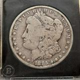 1885 Morgan Silver Dollar slabbed hard plastic xase collectors 90% silver