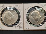 Kennedy Silver Half Dollar Lot 1964 bu 90% + 1966 bu 40%, 2 Units