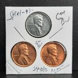 1954 Wheat & 1943 Steel Cent Trio gem bu stunners from original rolls