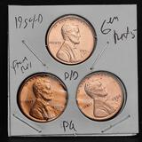 1954-D Red Penny Cent Trio Lot, 3 Units