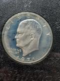 1971 Proof Eisenhower Silver Dollar blue pastel gsa plastic holder slabbed