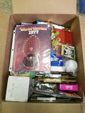 Box Full of Baseball Football Cards Magazines Pins