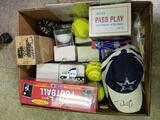 Box Full of Sports Cards Balls Signed Hat