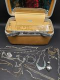 Vintage Samsonite case and Various jewelry