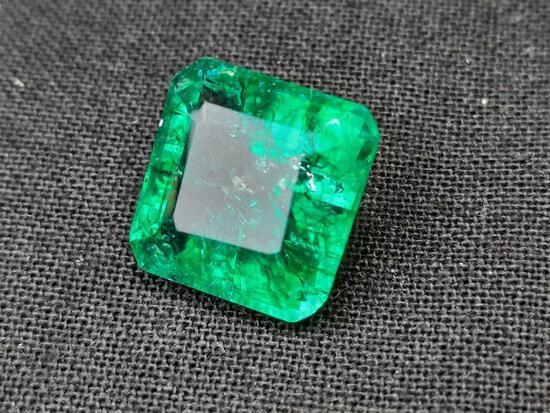 Columbian Emerald Deep Green 8.30cts Massive Natural Mined Gem Stone Radiant Cut GGL Card