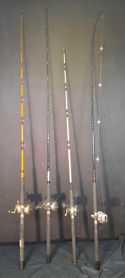 4 Fishing Poles, Sea Demon, Penn Long Beach, Avenger, Shakespeare