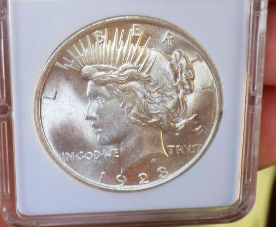 1923 Peace Silver Dollar gem bu satin white stunner
