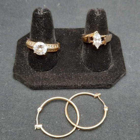 10-14K Gold Lot, Gold Rings Faux Gem Stones, Gold Hoop Earrings