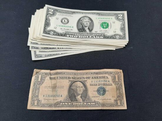 $57 Cold Hard Cash - mostly $2 bills, 1 $1 Series 1957 B