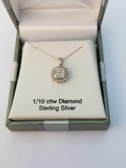 1/10 Carat Diamond Sterling Silver Necklace