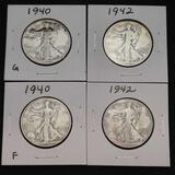 1940 1942 Walking Liberty Half Dollars Nice Full Dates 4 Units