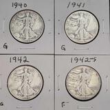 1941 1942-S Walking Liberty Half Dollars Nice Full Dates 4 Units