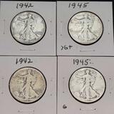 1942 1945 Walking Liberty Half Dollars Nice Full Dates 4 Units