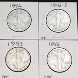 1942 1943-S Walking Liberty Half Dollars Nice Full Dates 4 Units