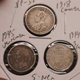 3 Very Old Foreign Silver Coin Lot 1945 Rare Venezuela + Canada VF-XF Nice Coins All Silver
