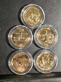 Lot of 5 Gold Plated Uncirculated State Quarters, Utah Colorado Ghettysburg Shenandoah Mariana