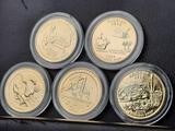 Lot of 5 Gold Plated State Quarters Original Issue Price 20-30 each