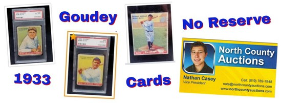 No Reserve 1933 Goudey Baseball Card Auction