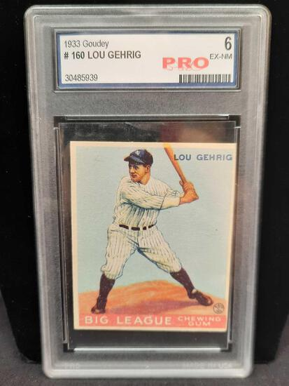 1933 Goudey #160 Lou Gehrig Graded 6 EX-NM Pro Baseball Card