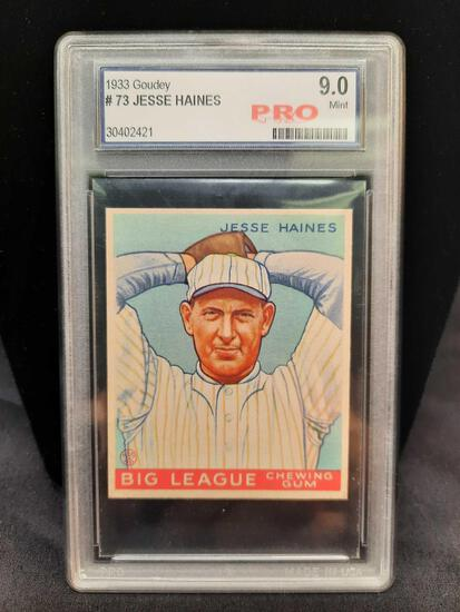 1933 Goudey #73 Jesse Haines Graded 9 Mint Pro Baseball Card