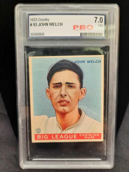 1933 Goudey #93 John Welch Graded 7 NM Pro Baseball Card