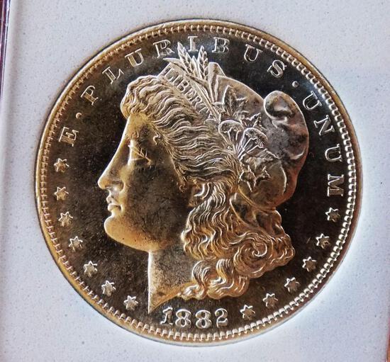 Morgan silver dollar 1882 s gem bu dmpl cameo glassy original high grade cameo