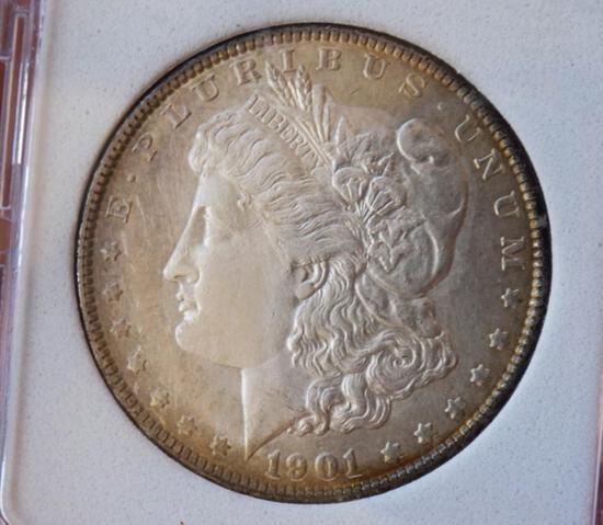 Morgan silver dollar 1901 p blazing pastel toned bu++ stunning mega rare date pq