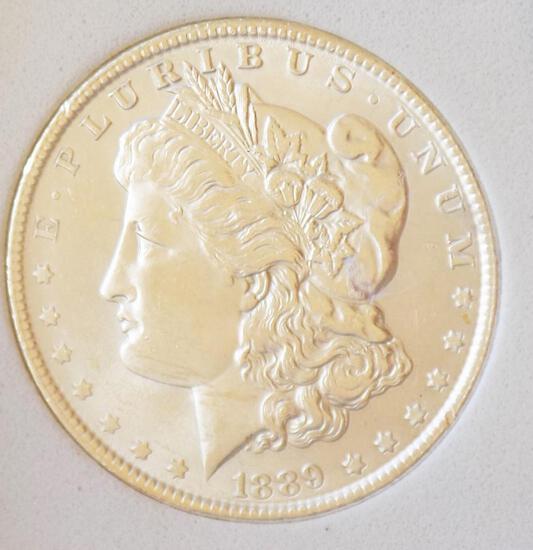 Morgan Silver Dollar 1889-P gem bu Blazing Frosty White Slabbed Stunner