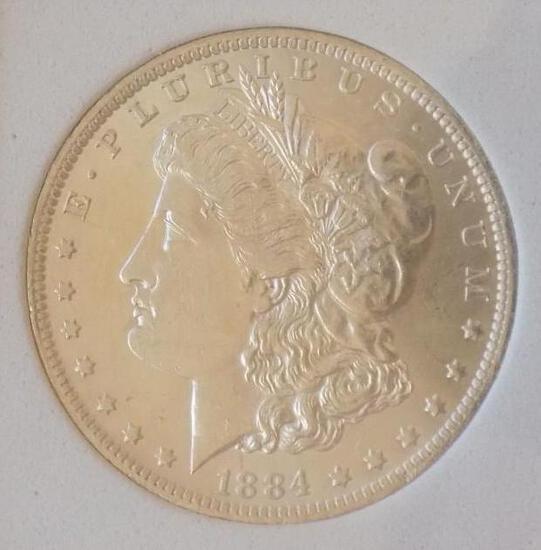 Morgan silver dollar 1884 o/o blazing gem bu satin white stunner slabed beauty