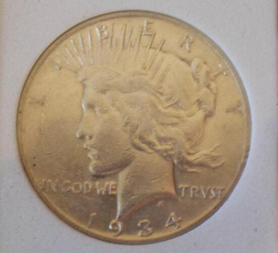 Peace silver dollar 1934 s rare date au/bu slider high end original premium quality