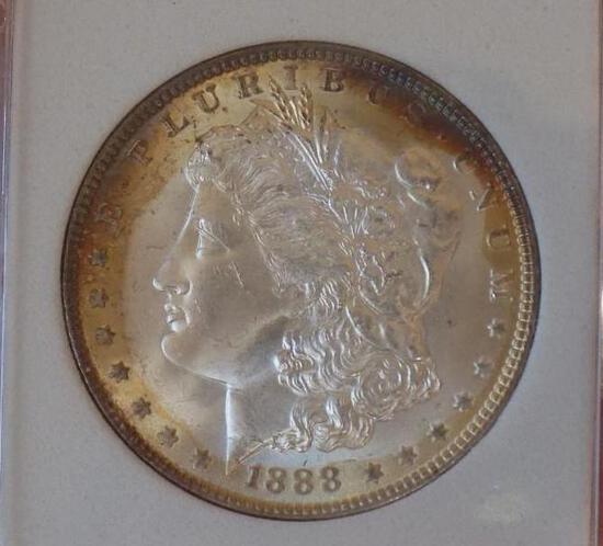 Morgan silver dollar 1888 gem bu rainbow monster coin blazing ms++++++++ WOW colors