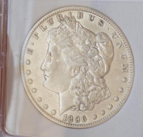 Morgan silver dollar 1896 o key date au+++ original slabed high grade beauty