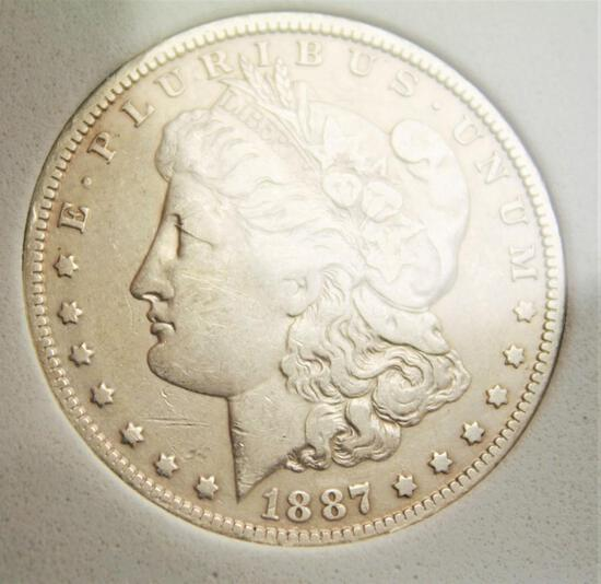 Morgan silver dollar 1887 o better date beauty au+ 90% silver dollar