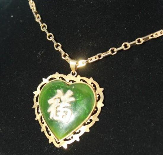 Japanese Topaz Heart Necklace Gold Plated Chain