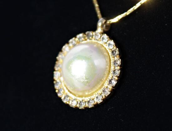 Pearl Fiery Gem Stone Necklace w/ Gold Chain