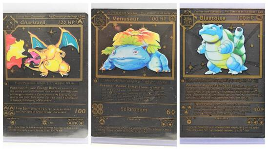 Black Pokemon Card Lot Charizard Blastoise Venusaur 3 Units Speciality Rare cards