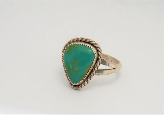 Antique Native American Sterling Silver Ring Size 8 w/ Blue Green Lapis Very Old 5.3g