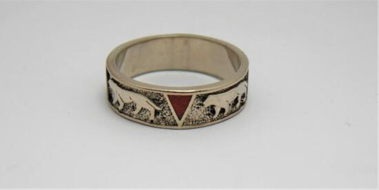 Sterling Silver Mens Ring Size 12.5 Like New Native Stone Couger Inlays Beautiful