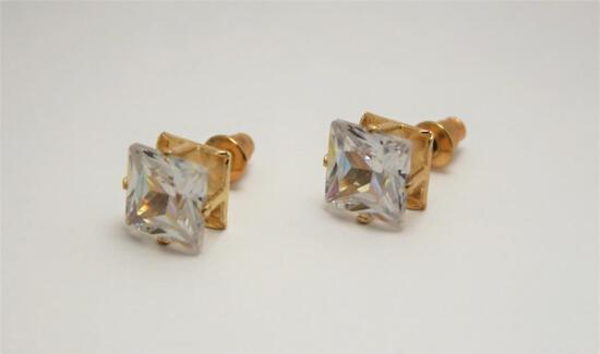 Cubic Zirconia Fiery Gem Stone Earrings Gold Plated